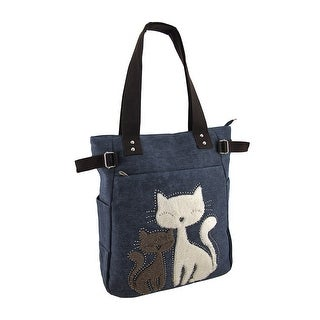 Faux Fur Rhinestone Cats Canvas Zip Top Tote Bag