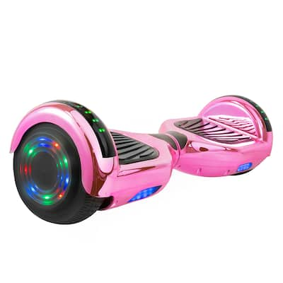 Hoverboard with LED Wheels/Rims and Bluetooth Speakers in Pink Chrome