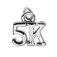 Silver Plated Lightweight Charm, 5K Run 10.3x10.3x2.4mm, 1 Piece, Silver