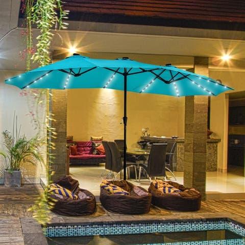Ainfox 15ft Double-Sided Patio Solar Led Lighted Market Umbrella without Base
