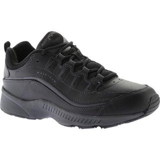 Easy Spirit Women's Romy Walking Shoe Black/Dark Grey Leather