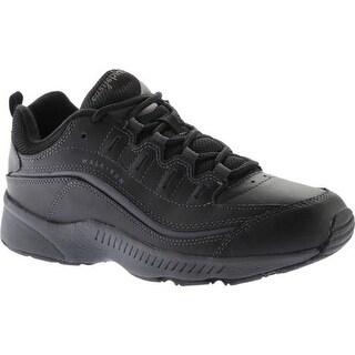 Easy Spirit Women's Romy Walking Shoe Black/Dark Grey Leather