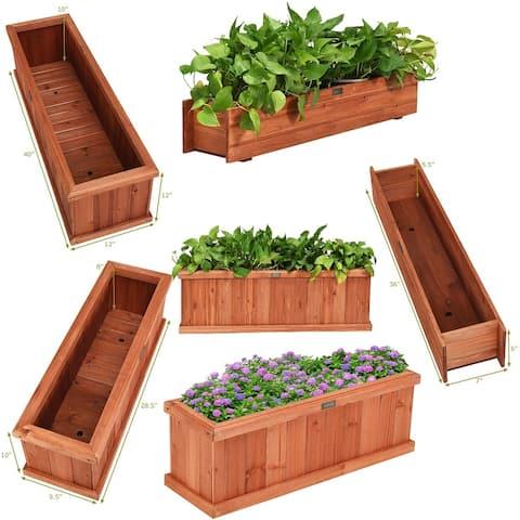 28/36/40 Inch Wooden Flower Planter Box Garden Yard Decorative Window