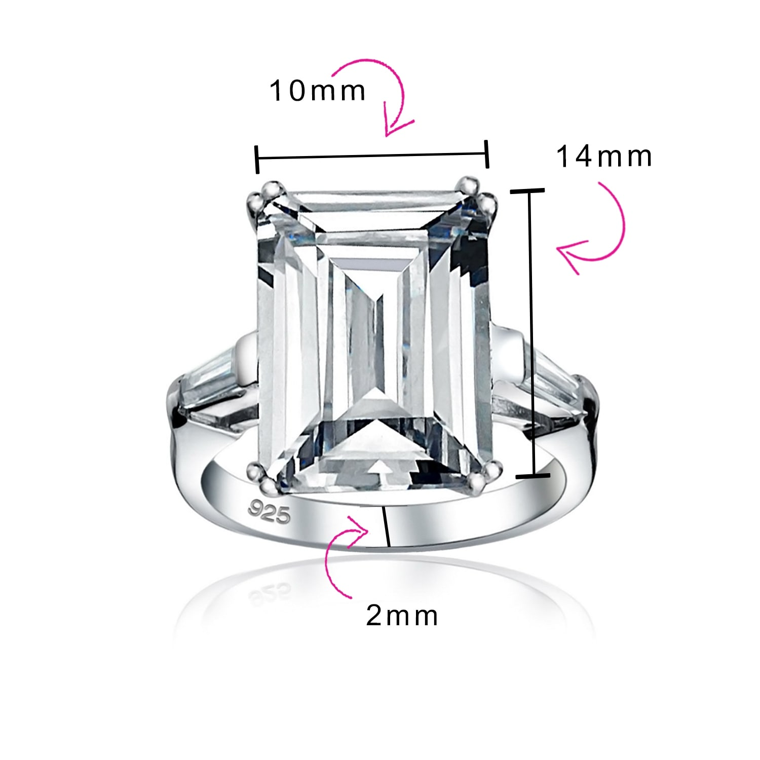 Womens 925 Sterling Silver Cubic Zirconia Solitaire Baguette Engagement Ring
