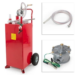 Arksen 30 Gallon Portable Fuel Transfer Gas Can Caddy Storage Gasoline Tank 30-Gallons Capacity- Red