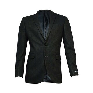 Bar III Men's Herringbone Slim-Fit Sports Jacket (Olive Black, 40L) - olive black