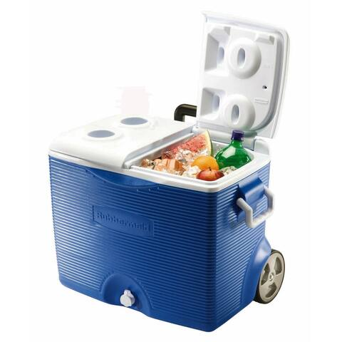 Rubbermaid FG2A9102MOD 45 Quart Capacity Portable Ice Chest with Rollers - Blue