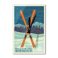 Snoqualmie Pass, WA - Crossed Skis - LP Artwork (Acrylic Wall Clock) - acrylic wall clock