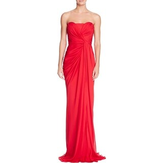 Badgley Mischka Womens Evening Dress Silk Pleated