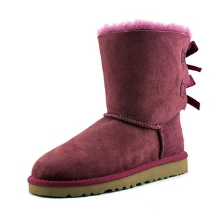 Ugg Australia K Bailey Bow Youth Round Toe Suede Purple Winter Boot