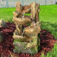 Sunnydaze 5 Tiered Woodland Fountain with LED Lights 25 Inch Tall