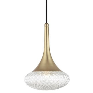 """Mitzi H114701D Bella Single Light 11-3/4"""" Wide Pendant with Clear Shade"""