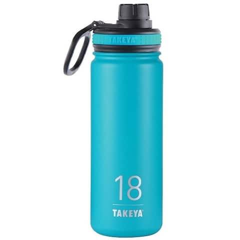 Takeya 50005 ThermoFlask Double Wall Insulated Water Bottle, Ocean, 18 Oz
