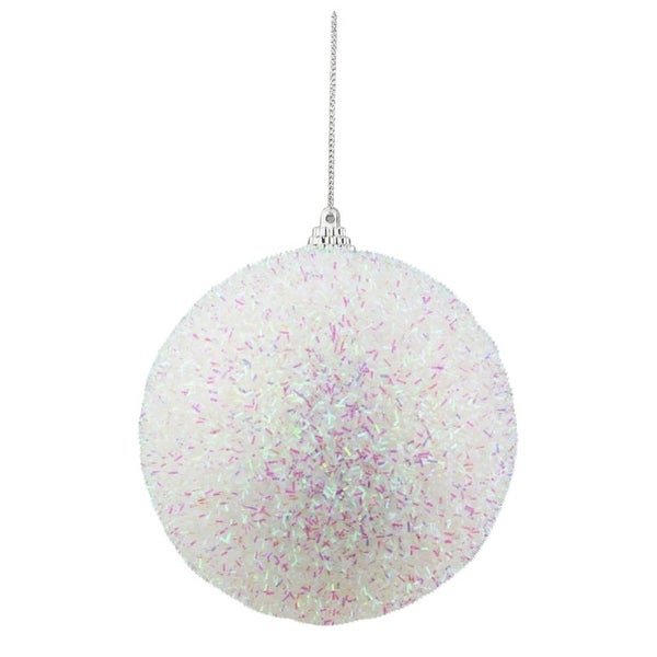 "4.5"" Decorative Iridescent White, Pink and Green Bristled Christmas Ball Ornament - WHITE"