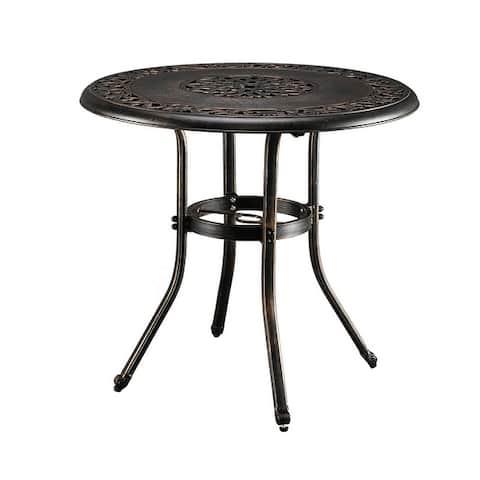 32 in.D x 29 in.H Patio Bronze Cast Aluminum Round Dining Table