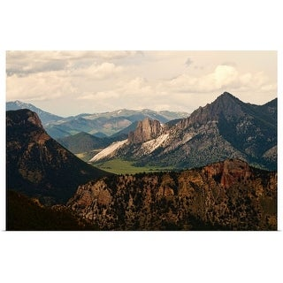 """""""View of Yellowstone mountain range from national park."""" Poster Print"""