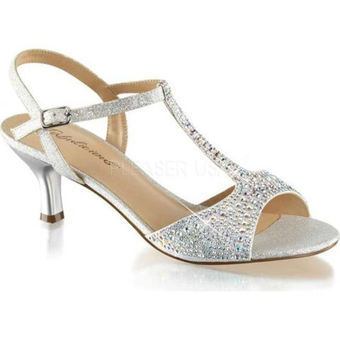 Fabulicious Women's Audrey 05 T-Strap Sandal Silver Shimmering Fabric