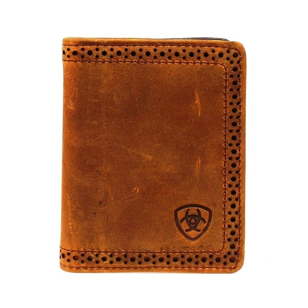 Ariat Western Wallet Mens Leather Bifold Perforated Brown - One size