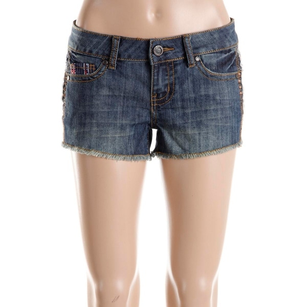 Hot Kiss Womens Juniors Cici Denim Shorts Embroidered Flat Front - 3