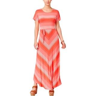 Tommy Hilfiger Womens Bridgette Maxi Dress Chevron Short Sleeves