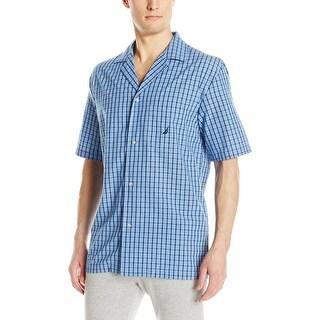 Nautica Blue Mens Size Large L Woven Plaid Button-Front Nightshirt