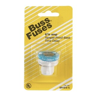 Bussmann BP/S-6-1/4 Dual Element Tamper Proof Plug Fuse, 125 Volts