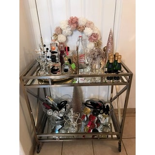 Metropolitan Antique Brass Metal Mobile Bar Cart with Mirror Glass Top by iNSPIRE Q Bold