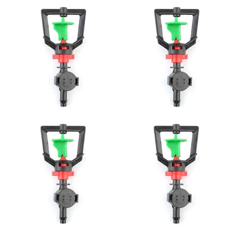 Household Plastic Plants Lawn Rotation Water Sprinkler System Head Black 4 Pcs