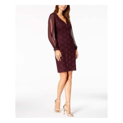 CONNECTED APPAREL Purple Long Sleeve Mini Shift Dress Size 10