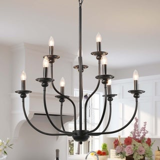 Link to Modern Farmhouse Black Metal Chandelier Pendant Lighting Similar Items in Chandeliers