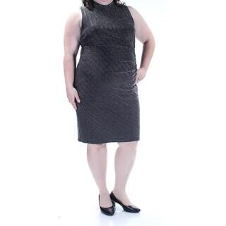 Womens Black Silver Sleeveless Knee Length Body Con Party Dress Size: 18
