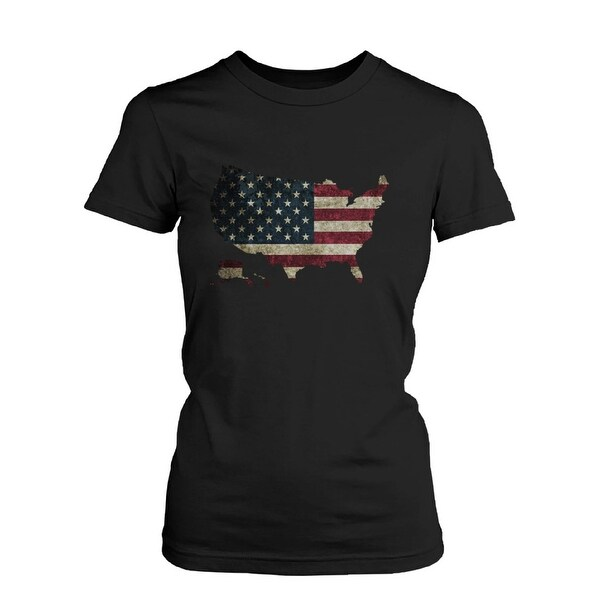 Womens' US Flag USA Map Graphic Black T-Shirt