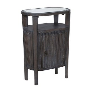 "GuildMaster 713024  Berkshire 22"" Wide Tempered Glass Top Wood Accent Table - Heritage Dark Gray Stain"
