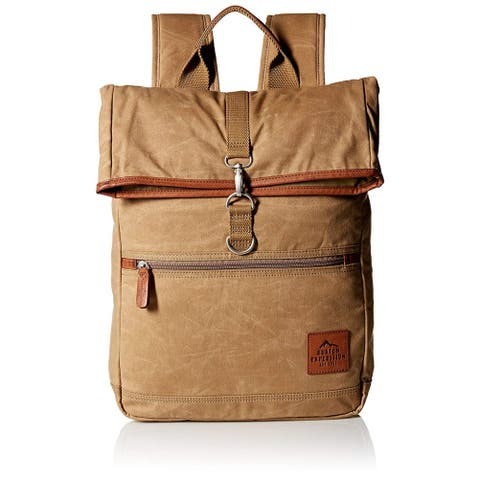 Buxton Men's Expedition II Huntington Gear Fold-Over Canvas Backpack Tan