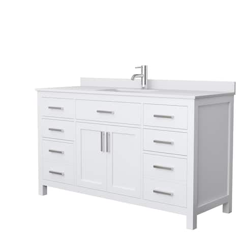 Beckett 60 Inch Single Vanity, Cultured Marble Top