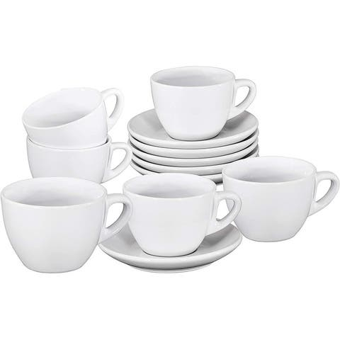 Espresso Cups with Saucers by Bruntmor - 6 ounce - Set of 6