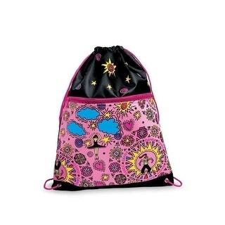 Danshuz Girls Pink Cool Dancers Colorful Screenprint Drawstring Backpack - One size