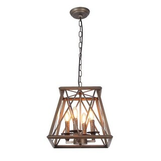 Vintage industrial edison hanging light, trapezoid bronze candle pendant lamp light - Wood/Rustic