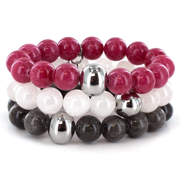 Dyed Jade and Stainless Steel Bracelet 3 Piece Set