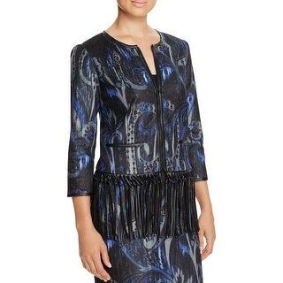 T Tahari Womens Brunella Jacket Leather Fringe Patterned Black XL