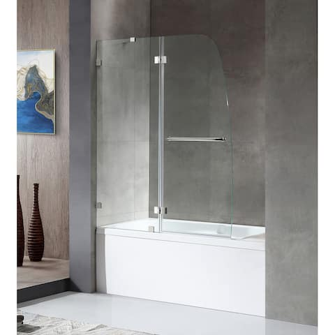 "ANZZI Herald 48"" x 58"" Frameless Hinged Tub Door in Polished Chrome"