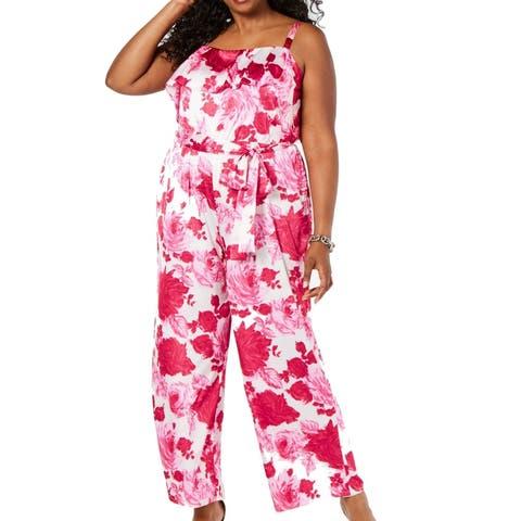 Betsey Johnson Women's Jumpsuit Pink Size 20W Plus Ruffle Belted Rose