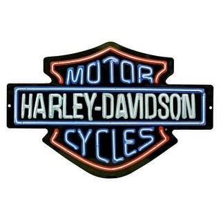 "Harley-Davidson Neon Design Embossed Bar & Shield Tin Sign, 19 x 12 in 2011381 - 19"" x 12"""