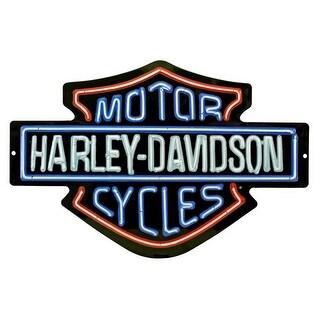 Harley-Davidson Neon Lights Embossed Bar & Shield Tin Sign, 19 x 12 in 2011381