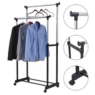 Costway Double Rail Adjustable Garment Rack Rolling Clothes Hanger Heavy Duty Portable