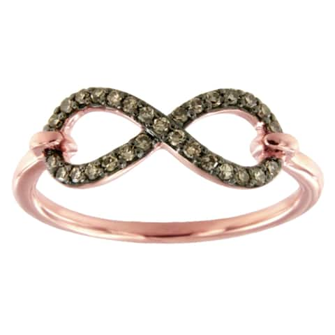 Prism Jewel 0.18Ct Round Brown Color Diamond Infinity Ring, Size 7