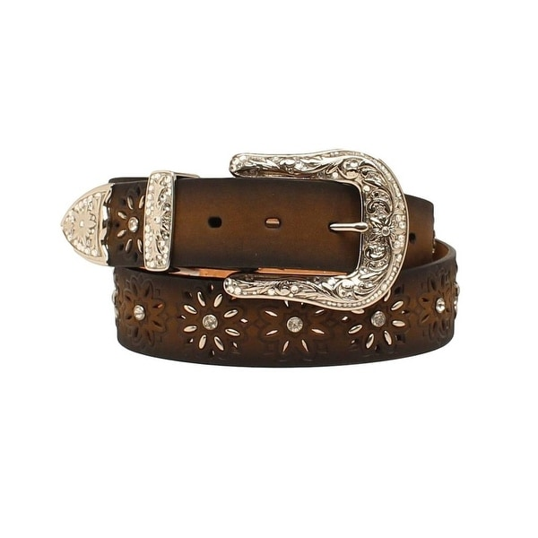Ariat Western Womens Belt Laced Beaded Starburst Brown