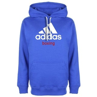 Adidas Community Line Boxing Pullover Hoodie - Vibrant Blue/White (Option: Xs)