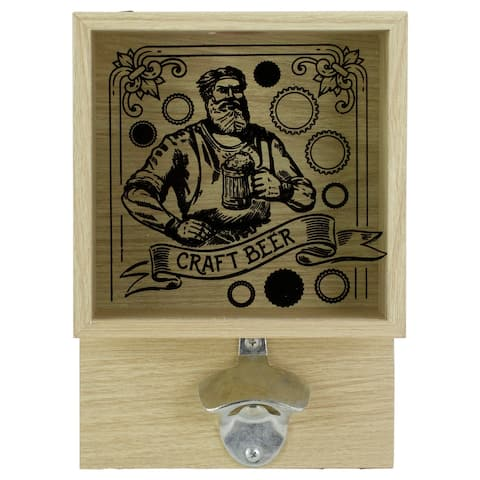 """10.25"""" Wood and Glass 'Craft Beer' Bottle Opener with Storage Box"""