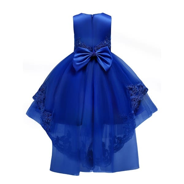 Rainkids Little Girls Royal Blue Embroidered Applique Hi-Low Flower Girl Dress
